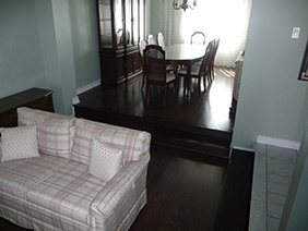 Refinished floors in Oakville, Ontario.
