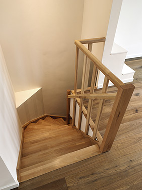 Wooden stairs - light wood.